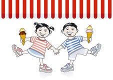 Children and ice cream. Children eat the ice cream Stock Photography