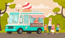 Children and an ice cream truck in the park. Vector illustration in a flat style Stock Photography