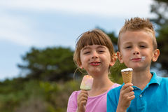 Children with ice creams. Young caucasian kids in Denmark on a summer day Royalty Free Stock Photography