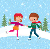 Children ice skate. Illustration of kids having fun in the winter skating rink Royalty Free Stock Image