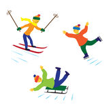 Children with ice skates, skis and sledges. Stock Image