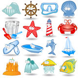 Children icon character summer holiday. There are some summer icon Stock Photography