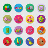 Children icons. Colourful set of children icons with toys stock illustration