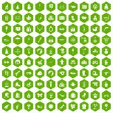 100 children icons hexagon green Stock Photos