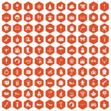 100 children icons hexagon orange. 100 children icons set in orange hexagon isolated vector illustration royalty free illustration