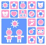 Children icons set. Stylized children and icons set isolated on a white background stock illustration