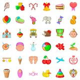 Children icons set, cartoon style Stock Images