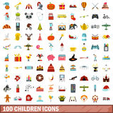 100 children icons set, flat style Stock Photos