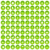 100 children icons set green circle. Isolated on white background vector illustration Stock Photography