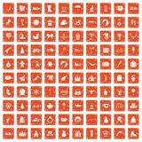 100 children icons set grunge orange. 100 children icons set in grunge style orange color isolated on white background vector illustration stock illustration