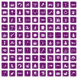 100 children icons set grunge purple. 100 children icons set in grunge style purple color isolated on white background vector illustration royalty free illustration