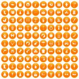 100 children icons set orange. 100 children icons set in orange circle isolated on white vector illustration stock illustration