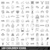 100 children icons set, outline style Royalty Free Stock Photography