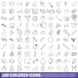100 children icons set, outline style Royalty Free Stock Image