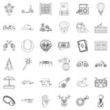 Children icons set, outline style Stock Photos
