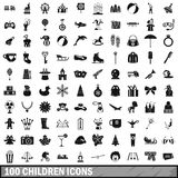100 children icons set, simple style. 100 children icons set in simple style for any design vector illustration Stock Photo