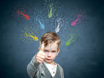 Children idea with draft lamp, boy came up with idea Stock Image