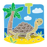 Children illustration of little turtle. Alphabet T Royalty Free Stock Photos