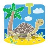 Children illustration of little turtle. Alphabet T Royalty Free Stock Photos