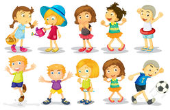 Children. Illustration of many children doing activities Stock Photo