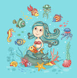 Children illustration with mermaid Royalty Free Stock Photos