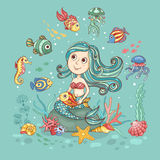 Children illustration with mermaid on green Royalty Free Stock Images