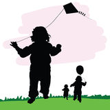 Children illustration in nature with dragon and balloon Royalty Free Stock Photography