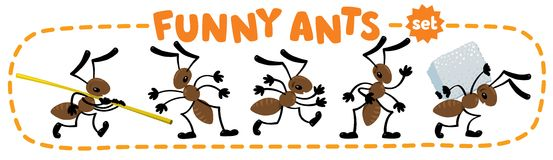 Funny small ants set. Children vector illustration Stock Image