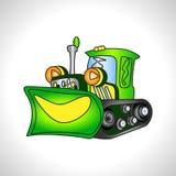 Children illustration technique green bulldozer Stock Photos