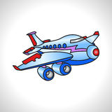 Children illustration technique huge plane Royalty Free Stock Image