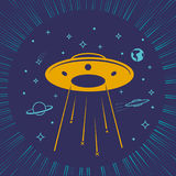 Children illustration UFO  starry sky Stock Photo