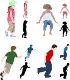 Children illustrations. 3 different illustration styles of 4 children Stock Photos