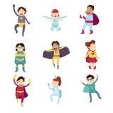 Children imagine super heroes royalty free illustration