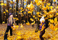 Children In Autumn Forest Stock Images