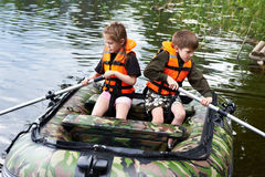Free Children In Life Jackets Swimming On Boat Royalty Free Stock Image - 96890626