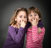 Children indicated. Twins children expression, gray background stock photo