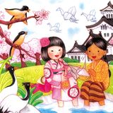 Children of Indonesia-Japan Friendship Watercolor Illustration. For any purpose such as cover book and illustration, wallpaper, home decor, print on canvas Stock Illustration