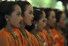 CHILDREN OF INDONESIA POPULATION. A children choir festival in Solo, Java, Indonesia. Of the 237 million inhabitants, almost one-third are under the age of 18 Royalty Free Stock Photos