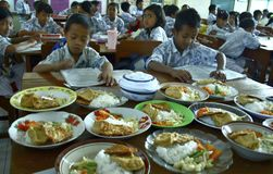 CHILDREN OF INDONESIA POPULATION. School children attend nutrition class at their school in Solo, Java, Indonesia. Of the 237 million inhabitants, almost one royalty free stock image