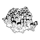 Children inside their country shape. Illustration about romanian children inside of the country shape Stock Photos