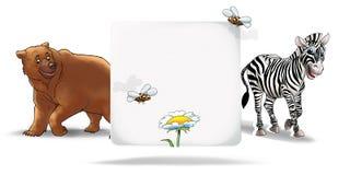 Children Invitation background. Invitation card for childish events. With animal bear, zebra, bee isolated on white background. Digital illustration, holiday stock illustration