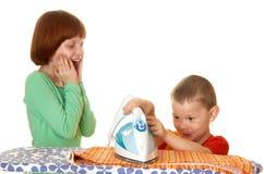 Children iron linen Stock Image
