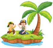 Children on island scene. Illustration royalty free illustration