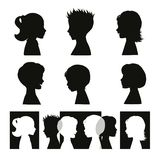 Children. Isolated silhouettes and banner Royalty Free Stock Photos