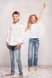 Children in jeans Stock Photo