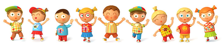 Children jump for joy vector illustration