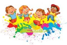 Children jump for joy Royalty Free Stock Photo