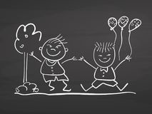 Children jumping with ballons. Drawing on chalkboard. Stock Photo
