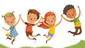 Children jumping. Boys and girls are playing together happily. Kids Play at the grass. Children Holding hands and jumping , Running a meadow. The concept is fun vector illustration