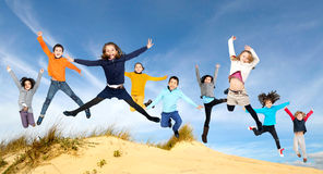 Children jumping Royalty Free Stock Photography